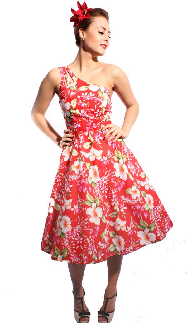 Hawaii Blüten Hibiskus Flower rockabilly SWING Petticoat Kleid ...