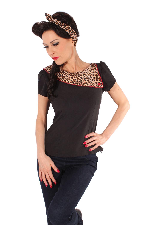 retro 60er jahre leoparden kragen rockabilly puffarm leo bluse ebay. Black Bedroom Furniture Sets. Home Design Ideas
