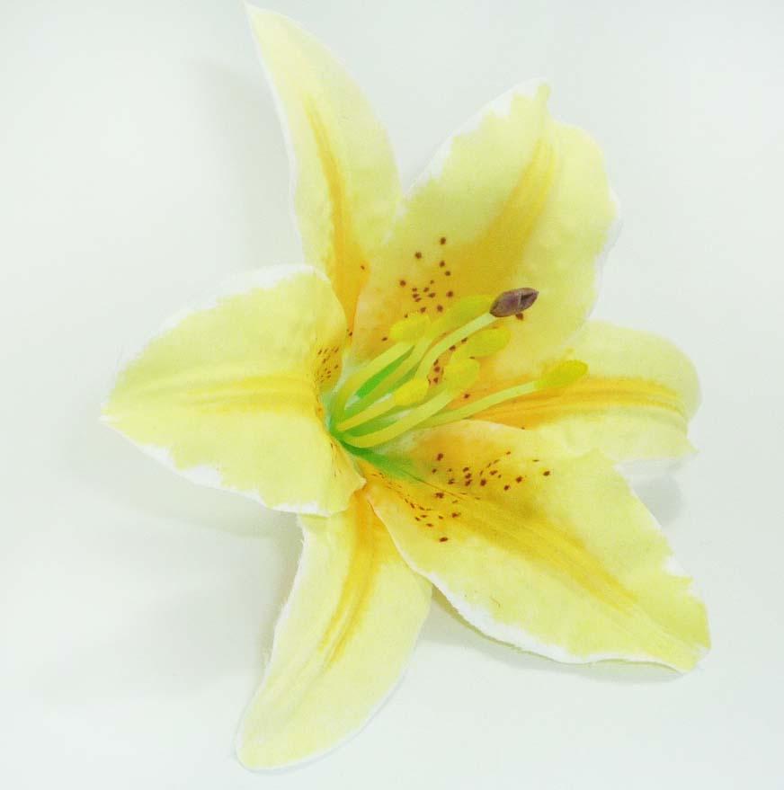 Große pin up Lilien Blüte rockabilly Flower Haarklammer Hairclip Gelb