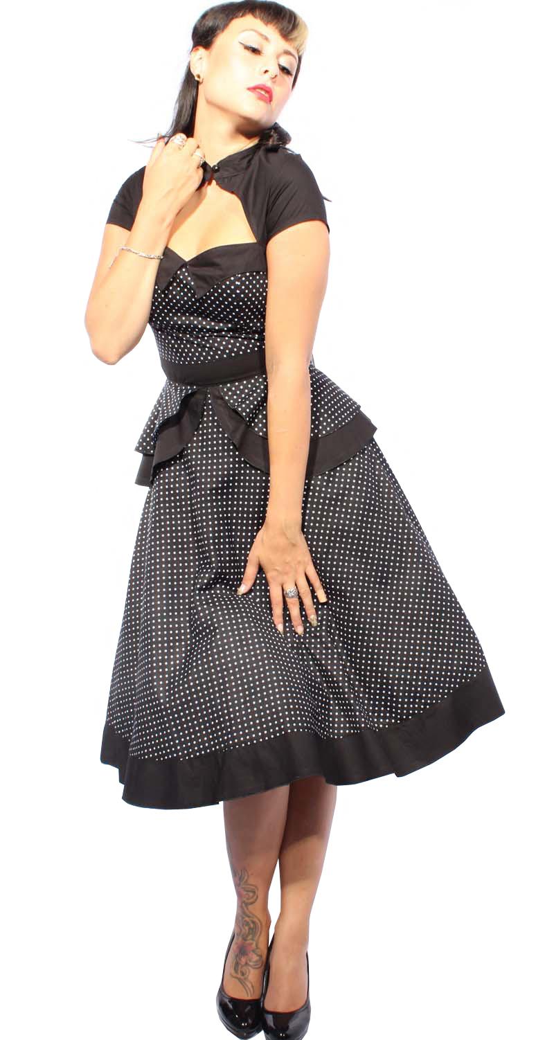 50er polka dots pin up retro rockabilly bolero swing kleid for Rockabilly kleid lang