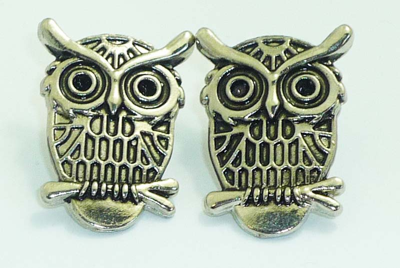 Süße vintage Eule / Owl rockabilly pin up Eulen retro Ohrstecker Ohrringe silber
