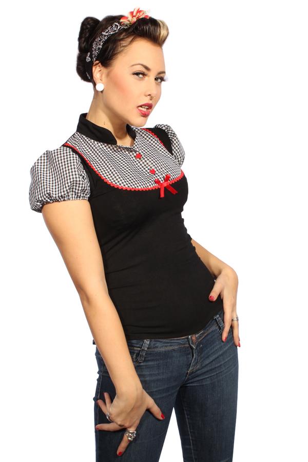 50er GINGHAM pin up Rockabilly Karo Country Puffärmel Bluse Shirt