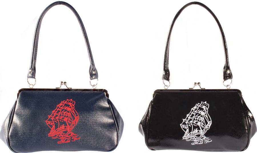 50er rockabilly SEGELSCHIFF RETRO Ship Kisslock Handtasche Tasche