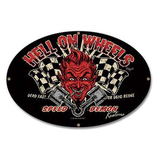 Hell on Wheels DEVIL Racing BLECHSCHILD rockabilly retro Metallschild 45 cm