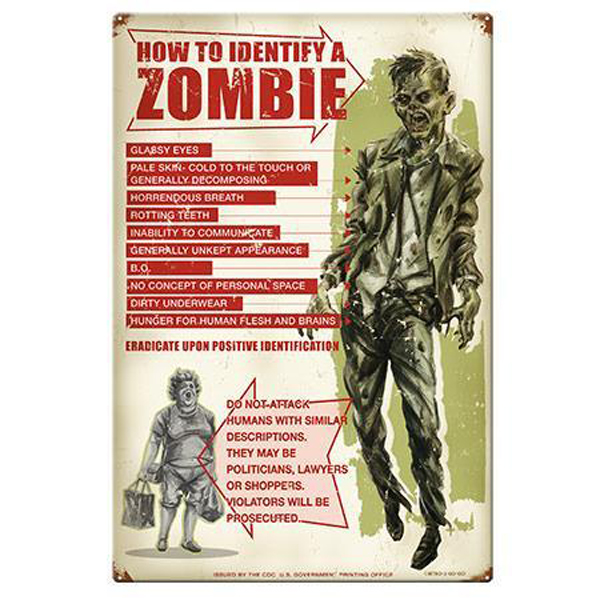 ZOMBIE Warning BLECHSCHILD retro Metallschild Deko Wand Schild 44,5 cm