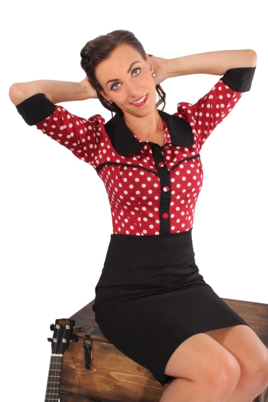 Fifties Polka Dots Rockabilly Puffärmel Bubikragen Rüschen 3/4arm Bluse