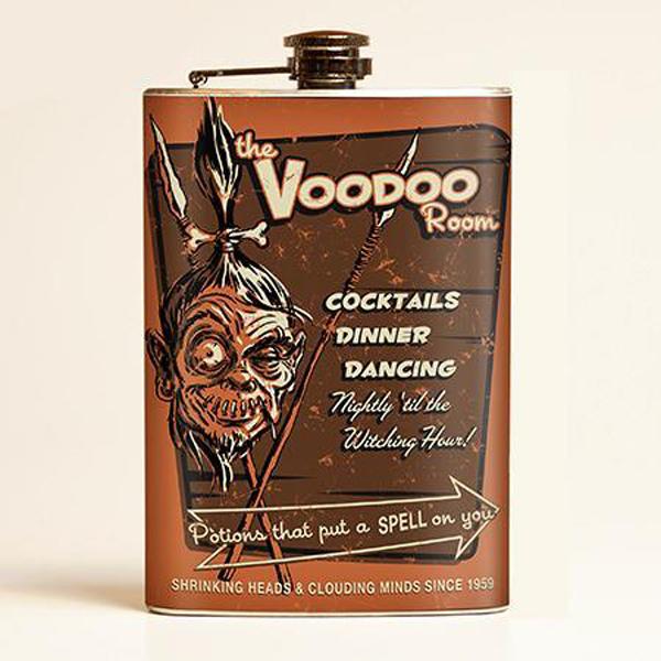 Voodoo Room Flachmann Hawaii Tiki Schrumpfkopf Flask Edelstahl 220 ml 8 oz