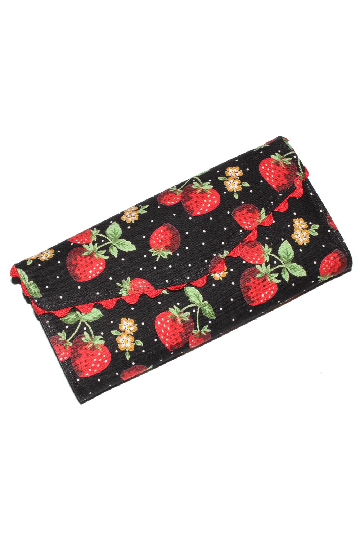 Erdbeer Kirschen Dots rockabilly Cherry Rüschen Geldbörse Geldbeutel