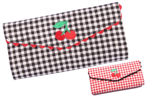 Gingham rockabilly Cherry Rüschen Kirschen Karo Geldbörse Geldbeutel
