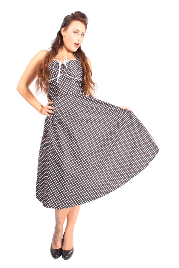 50er pin up rockabilly POLKA DOTS Punkte Neckholder Kleid Petticoatkleid