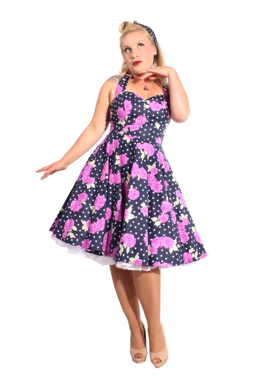 Pin Up Polka Dots Rosen rockabilly retro Blumen Neckholder Swing Kleid