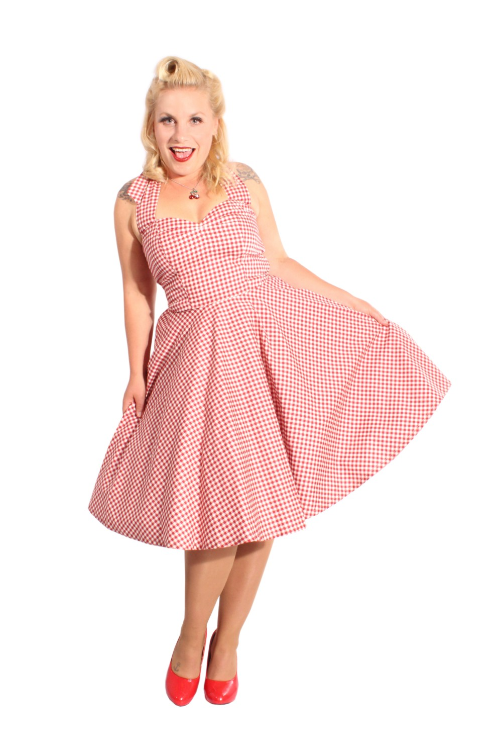 50er Jahre Gingham Pin Up rockabilly retro Neckholder Swing Kleid