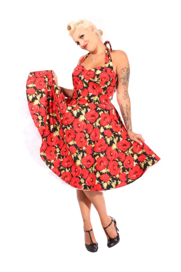 50s Style rockabilly retro Mohnblumen Blumen Flower Neckholder Swing Kleid