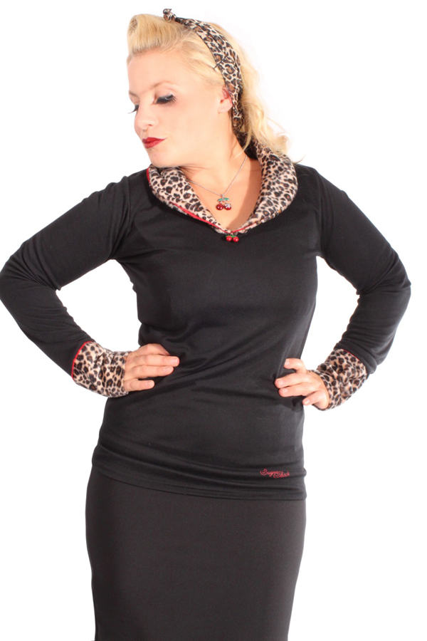Fifties Leopard Rockabilly Cherry LEO Kragen langarm Shirt Pulli Longsleeve