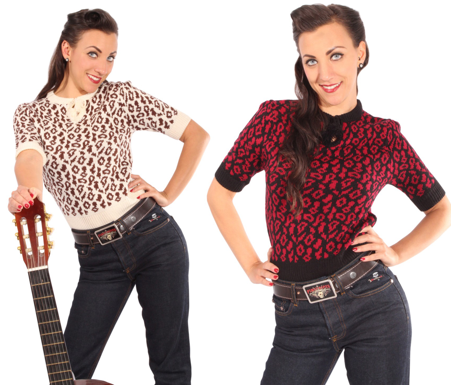 50s Leoparden retro rockabilly Strick Shirt Strickpulli Leo Jumper