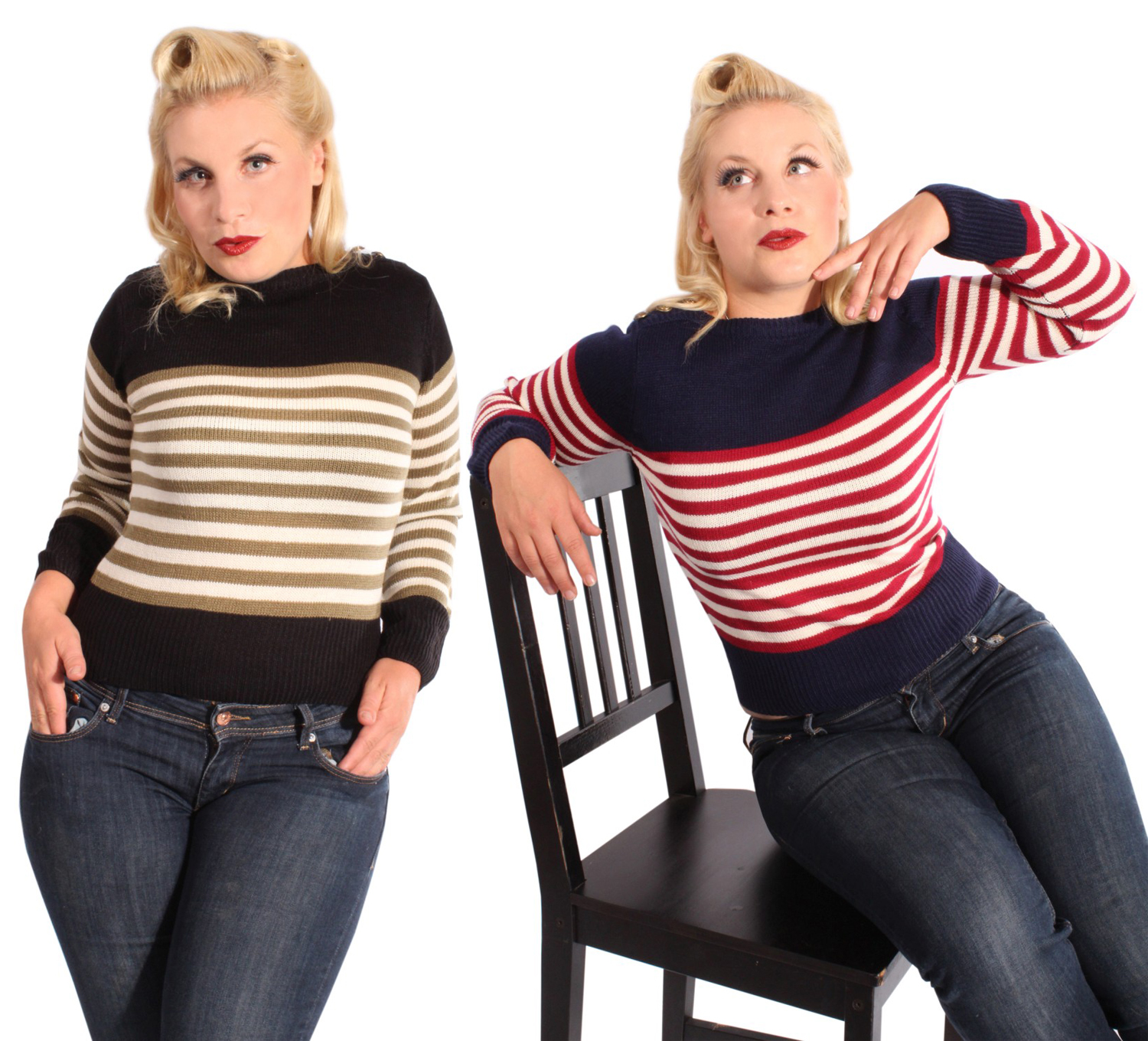 40s vintage RETRO Sailor Uniform Streifen Winter Strick Pulli Jumper