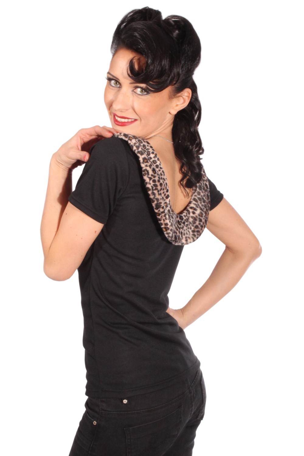 Fifties Leopard Rockabilly pin up LEO Leofell Kragen T-Shirt Rückenfrei
