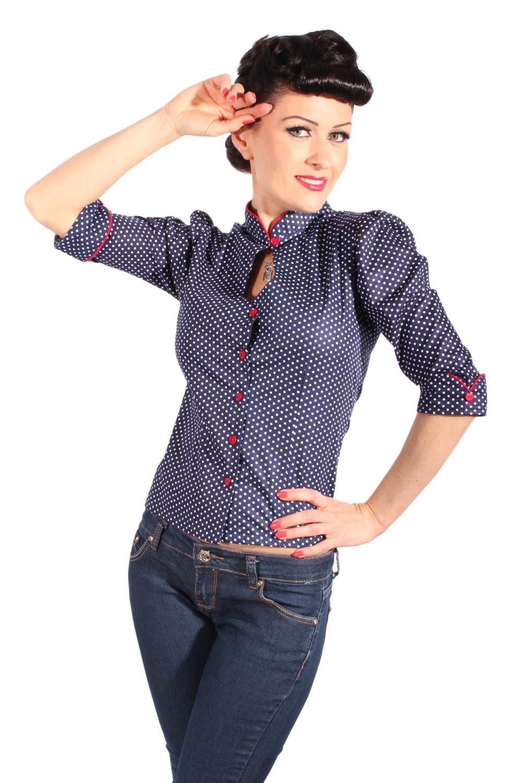 Cute ASIA Polka Dots Rockabilly Puffärmel Stehkragen Bluse Shirt