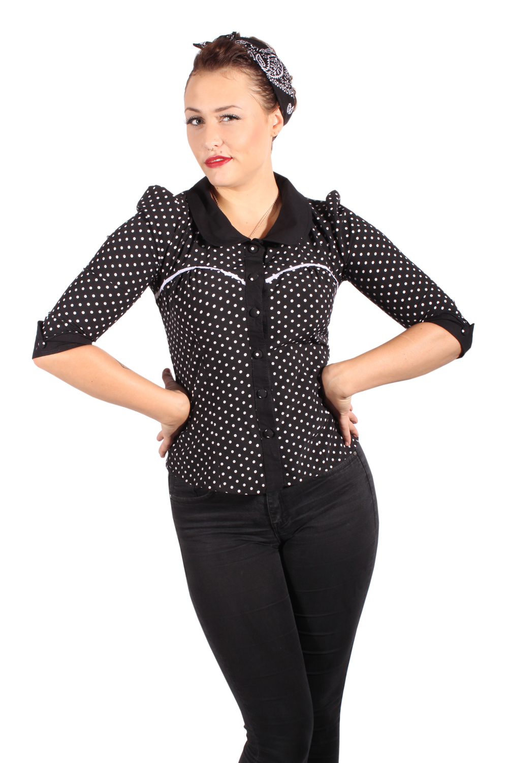 Fifties Polka Dots Rockabilly Puffarm Bubikragen Punkte 3/4arm Bluse