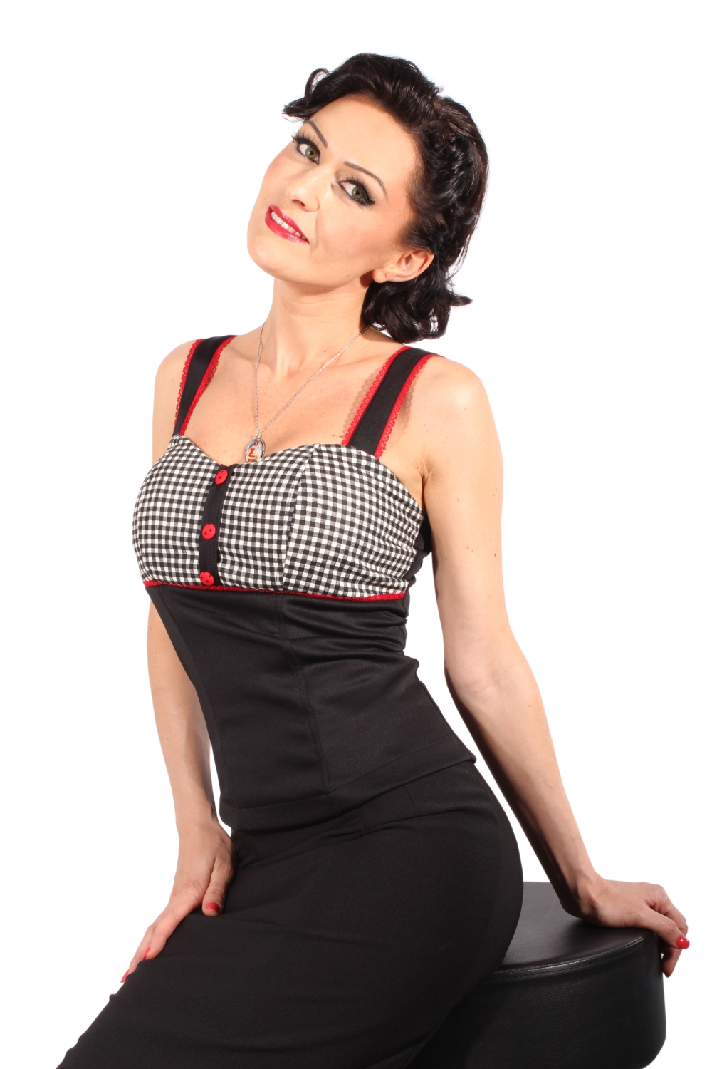 Gingham rockabilly pinup Karo Corsage TOP Corsagentop Shirt inc Pads
