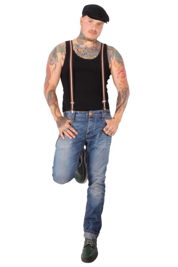 Striped SKA rockabilly punk rock Suspender Hosenträger Streifen braun