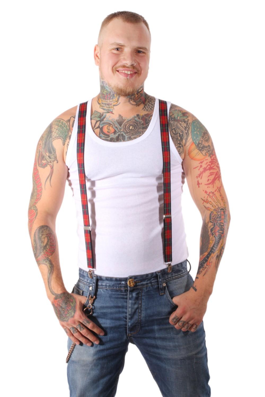 TARTAN Schottenkaro rockabilly punk rock Suspenders Hosenträger