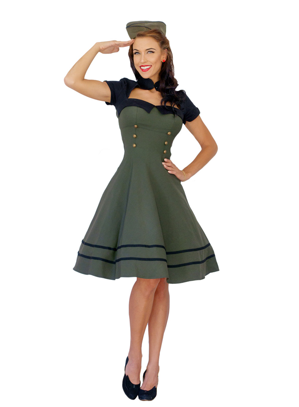 Pin Up Uniform Retro rockabilly Bolero SWING Kleid Petticoatkleid