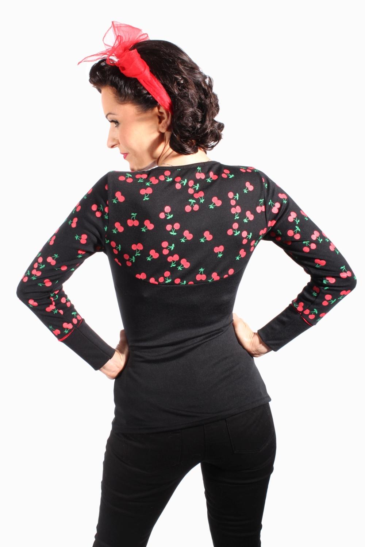 Cherry Rockabilly pin up retro Kirschen langarm Shirt Longsleeve