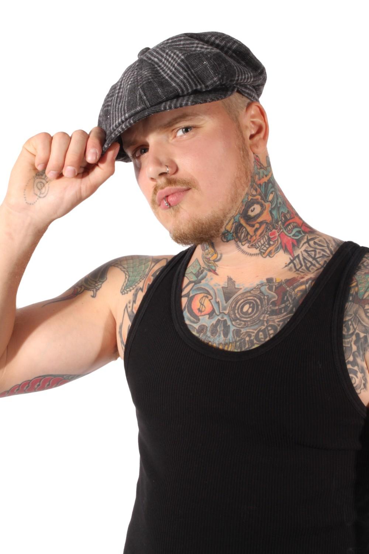 40er Gangster vintage rockabilly Ballonmütze Schiebermütze grau