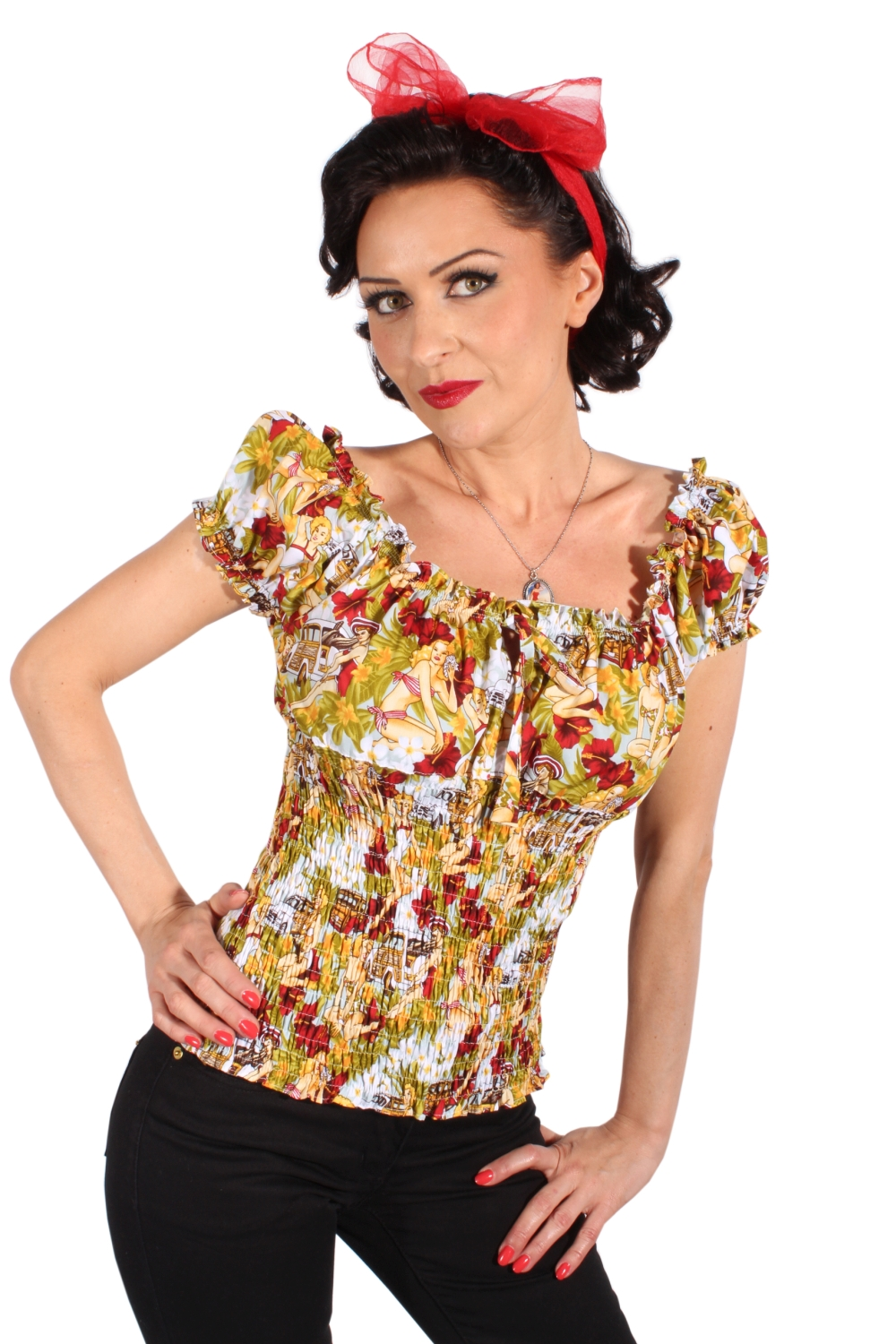 PIN UP`s Hibiskus Blüten Flower Puffärmel Stretch Carmen Shirt TOP