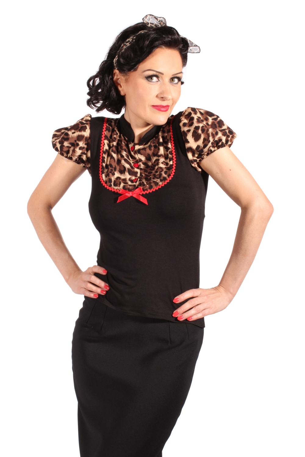 Retro Puffärmel Leoparden pin up Rockabilly Leo Bluse T-Shirt schwarz