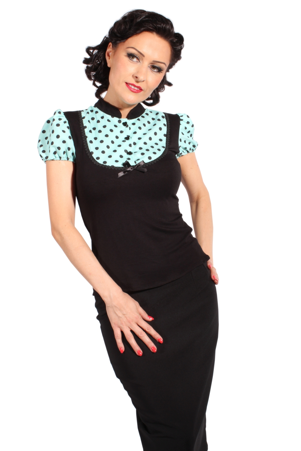 50s Puffärmel POLKA DOTS pin up Rockabilly retro Bluse T-Shirt mint