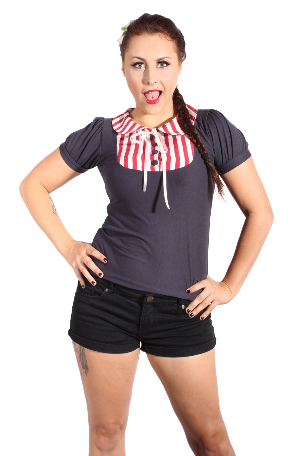 Puffärmel pin up Rockabilly Streifen Bluse kurzarm T-Shirt blau