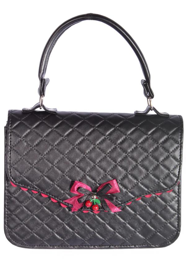 vintage Argyle retro rockabilly Tasche BOW Cherry Handtasche