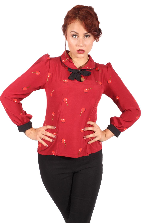Kirschen Rockabilly Puffärmel Schlüsselloch retro Cherry BOW Bluse