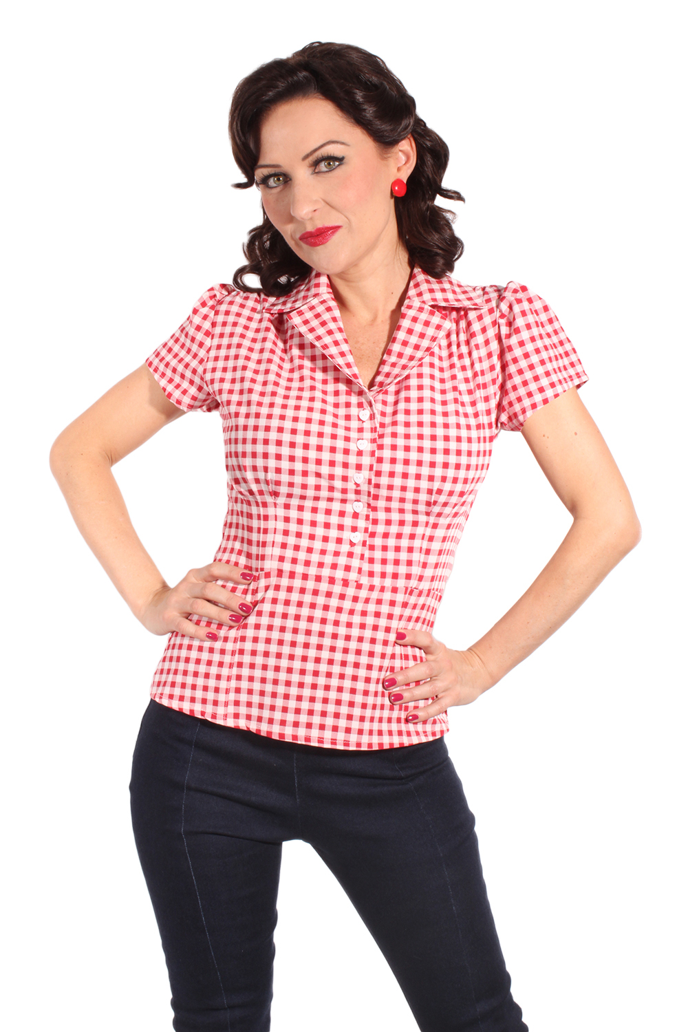 Country Gingham pin up rockabilly Karo Herzchen Bluse rot kariert