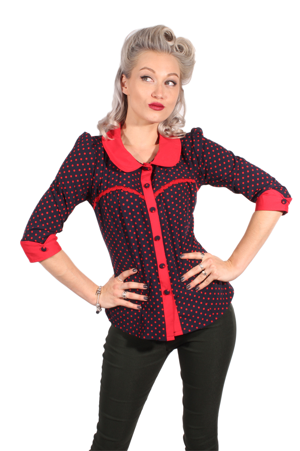 Fifties Polka Dots Rockabilly Puffärmel 3/4arm Bluse marineblau rot