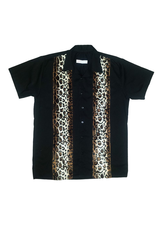 50er Leo rockabilly Panel retro Leoparden BOWLING Hemd Shirt