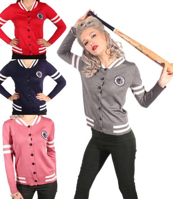 Retro 50er rockabilly Baseball Strickjacke College Cardigan Weste