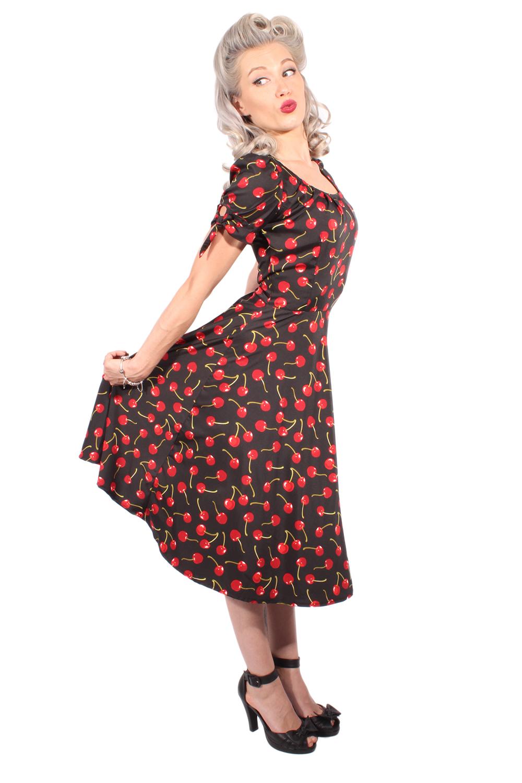 Cherry retro rockabilly SWING Kirschen Puffärmel Kleid Petticoatkleid