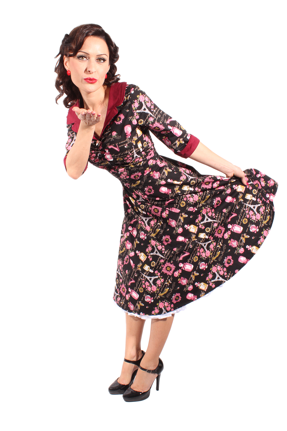 Souvenir Pin Up Rockabilly 3/4arm Swing French Paris Tellerrock Kleid