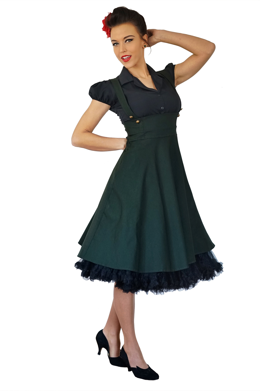 rockabilly retro Hemdkleid Uniform Hosenträger Swing Petticoat Kleid