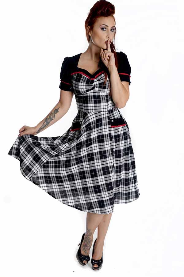 TARTAN Rockabilly Puffärmel Swing Schottenkaro Petticoatkleid Kleid