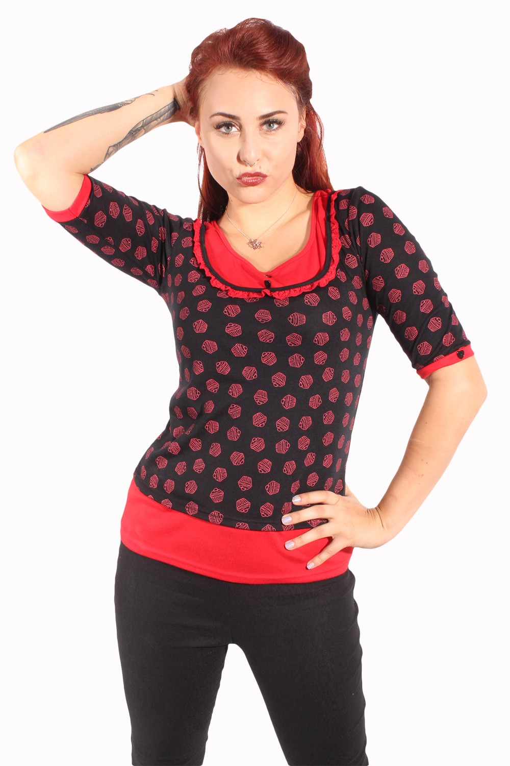 Cute 2tone Cupcake pin up Rockabilly Rüschchen Muffin Jumper Longsleeve
