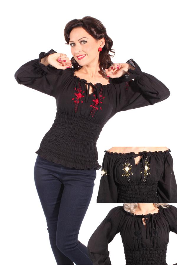 40s Flower Rockabilly Carmen Blusenshirt Stretch Blüten langarm Shirt