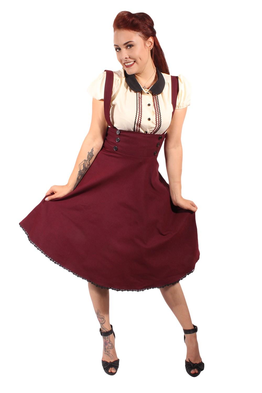 RETRO rockabilly Hosenträger Petticoat SWING ROCK Tellerrock burgund