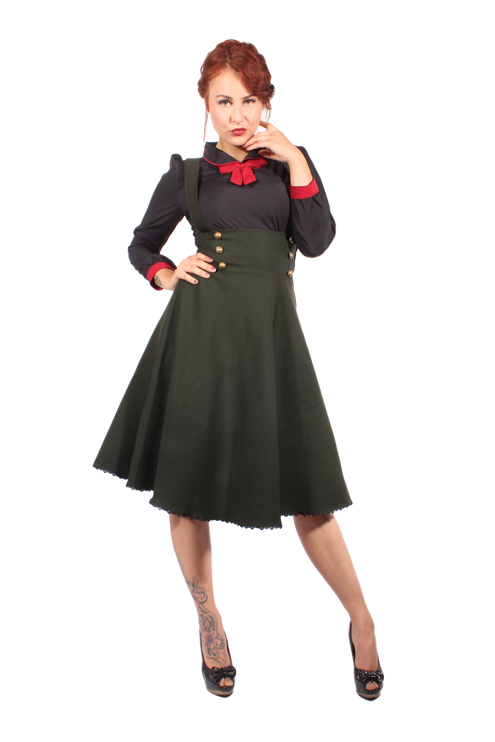 UNIFORM retro rockabilly Hosenträger SWING ROCK Tellerrock oliv