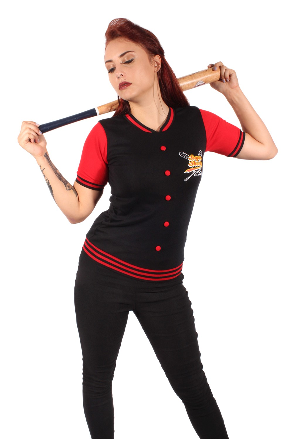 50s retro Baseball pin up rockabilly oldschool College T-Shirt schwarz