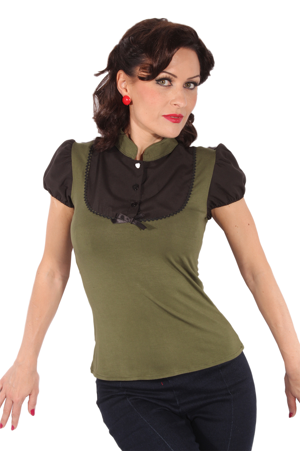 Retro Puffärmel pin up Rockabilly Military Bluse T-Shirt oliv schwarz