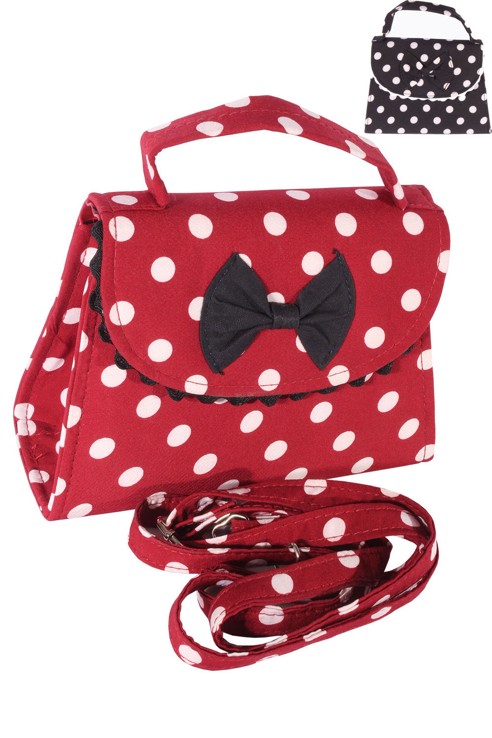 Fifties POLKA DOTS rockabilly BOW Tasche Köfferchen Handtasche